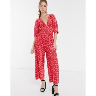エイソス レディース ワンピース トップス ASOS DESIGN kimono sleeve plisse jumpsuit in red floral print
