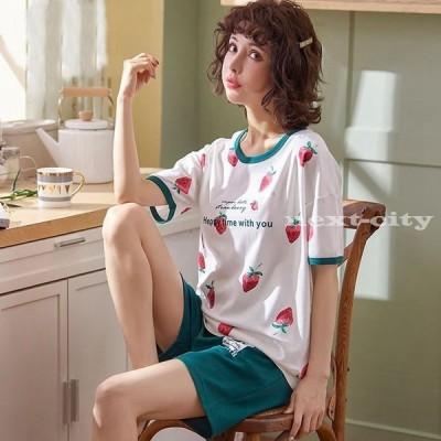 レディース パジャマ ルームウェア セットアップ 夏 部屋着 上下セット 寝巻き 寝間着 トップス Tシャツ パンツ 女性 半袖 コットン ナイトウェア