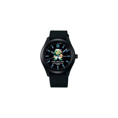 [セイコーウォッチ] 腕時計 アルバ スーパーマリオ コラボレーションモデル 地下ルイージデザイン 黒文字盤 日常生活用強化防水(10気圧) ACCK423 ブラック