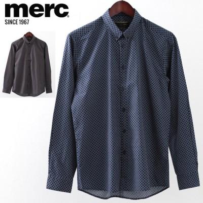 メルクロンドン Merc London 長袖シャツ ジオプリント W1 プレミアム ブラック ネイビー ボタンダウン メンズ