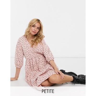エイソス ミディドレス レディース ASOS DESIGN Petite midi smock dress with wrap top in dusty pink and black polka dot エイソス ASOS ピンク