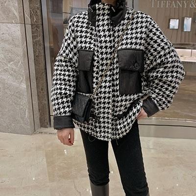 [COCOBLACK] 2オンスのヌビームで温かくて素敵なハウンドパターンのパディングジャケット:)