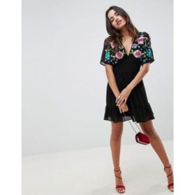 エイソス レディース ワンピース トップス ASOS DESIGN Tiered Mini Dress With Floral Embroidery Black