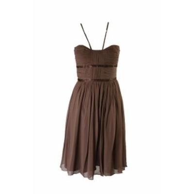 ファッション ドレス Lavanderia da Shelli Segal Marrone Pieghe Perline Chiffon Abito 12