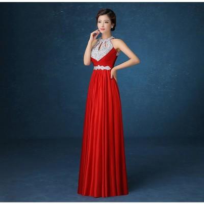 ロングドレス パーティードレス カラードレス 二次会 結婚式 ワンピース ドレス フォーマルドレス フォーマル お呼ばれ 大きいサイズ 大人 上品[レッド]