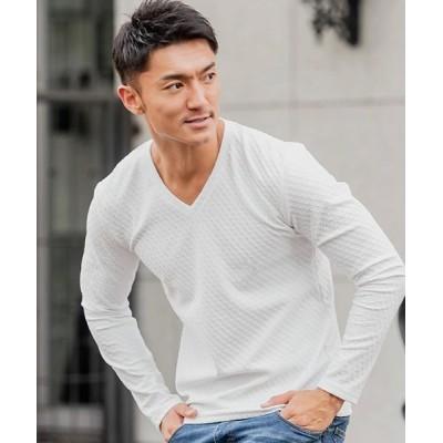 (CavariA/キャバリア)CavariA【キャバリア】ふくれスクエア柄Vネック長袖Tシャツ/メンズ ホワイト
