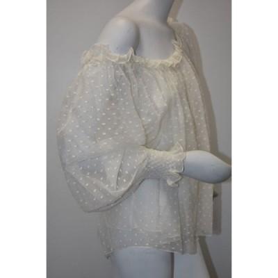トップス オスカーデラレンタ Oscar de la Renta Lace Cream Ivory Blouse off the Shoulder Smocked 6