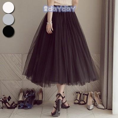 スカート 春夏 レディース ロング 白 黒 きれいめ ミモレ丈 大きいサイズ 白  フレア 大人 チュールスカート