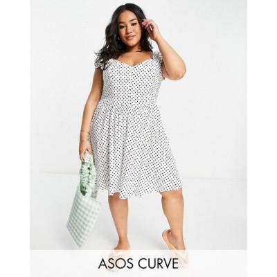 エイソス ASOS Curve レディース ワンピース ミニ丈 ASOS DESIGN Curve 90s mini tea dress in black and white spot ホワイト/ブラックスポット