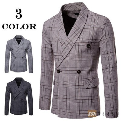 ジャケット 紳士服 メンズ テーラードジャケット スリム ビジネス カジュアル スーツジャケット チェック柄 通勤 アウター
