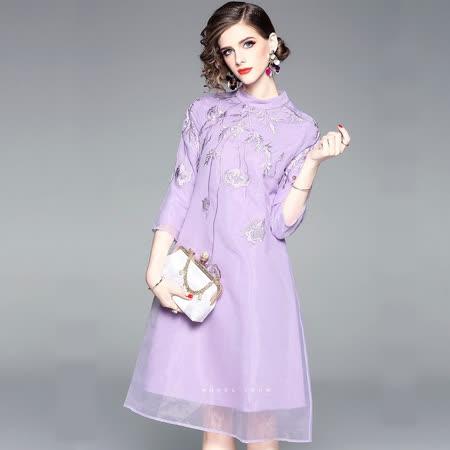 Olivia奧莉精品 浪漫粉紫東方剌繡洋裝 S~2XL 洋裝 連身裙 禮服 伴娘服 媽媽裝