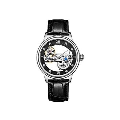 【新品・送料無料】Guanqin メンズ 発光スケルトン アナログ 自動巻き 機械式腕時計 レザーストラップ付き シルバーブラック