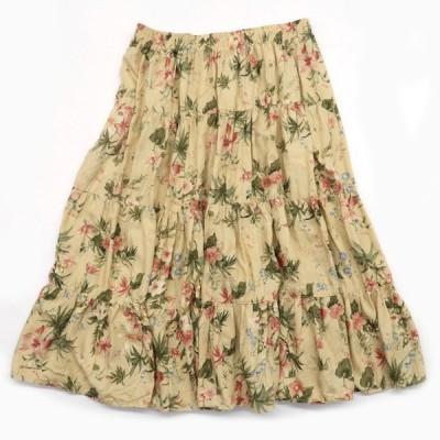 COUNRY CLASSICS BY KORET レーヨン 花柄 ティアードスカート サイズ表記:XL