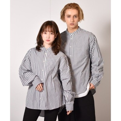 シャツ ブラウス ブロードストライプバンドカラーシャツ