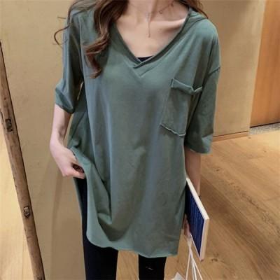 レディース Tシャツ tシャツ トップス 綿麻 春夏 無地 綿麻シャツ Vネック 半袖 ゆったり 大きいサイズ