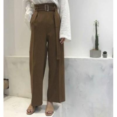2色 ワイドパンツ ストライプ ハイウエスト ボトムス カジュアル きれいめ 大人可愛い 韓国 オルチャン ファッション