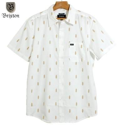 BRIXTON ブリクストン 半袖シャツ プリントシャツ 総柄 オフホワイト ナチュラル