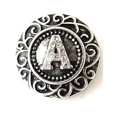 チャーム ブレスレット ハンドメイド Silver Clear Rhinestone Letter A 20mm Snap Charm Interchangeable For Ginger Snap