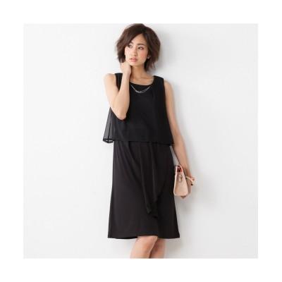 アクセサリー付シフォン使いカットソーコクーンワンピース (ワンピース)Dress