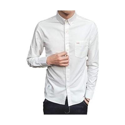 [ルナー ベリー] メンズ カジュアル シャツ 長袖 ワイシャツ シンプル ジャケット 4色展開 M〜XXL 9002 (ホワイト M)