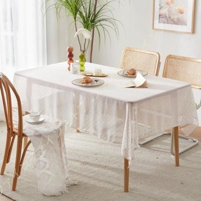 テーブルクロス レース 可愛い テーブルマット リネン テーブル クロス長方形 円形 テーブルクロス コットンリネン テーブルカバー リーフ柄 綿麻 北欧