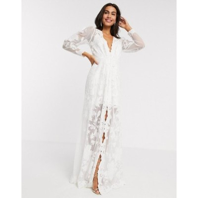 エイソス レディース ワンピース トップス ASOS EDITION Gayle blouson sleeve embroidered applique wedding dress