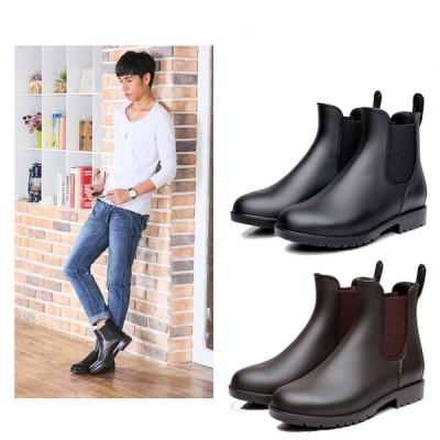 大雨、豪雨対策雨靴 おしゃれ ショートブーツ ファッション レインブーツ ブーツ ラバー 防水 メンズ 雨用 ブーツ 男性用 梅雨 雨の日 釣り