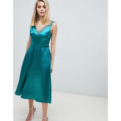 リトルミストレス ミディドレス レディース Little Mistress lace trim slinky midi dress in green エイソス ASOS