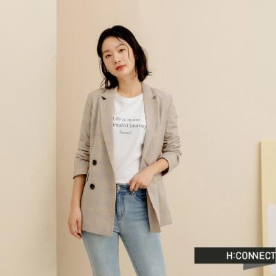 H-CONNECT 韓國品牌 女裝-素色英文標語落肩T-Shirt-白色