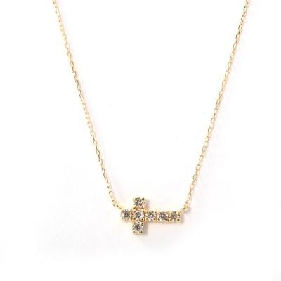 ダイヤ ネックレス K18YG K18イエローゴールド ダイヤ0.150ct 0.9g レディース 【中古】A品