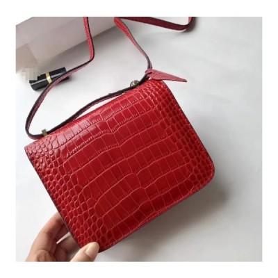 送料無料ヨーロッパとアメリカのファッションレザーハンドバッグ2018新しいワニの穀物シングルショルダーバッグカンカンバッグ Red 19