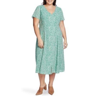 ワンステート レディース ワンピース トップス Plus Size Short Sleeve Button Front Floral Print Midi Dress