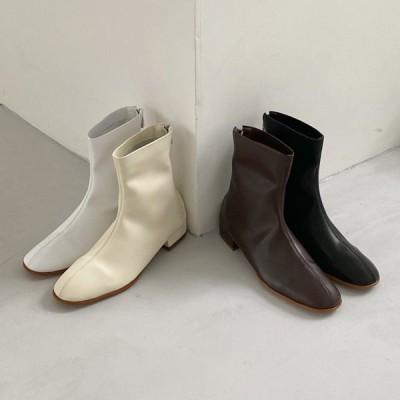 ショートブーツ バックジップ スクエアトゥ ローヒール フラット レディース 黒 茶色 白 ブラック ブラウン ホワイト アイボリー 靴 婦人靴 歩きやすい