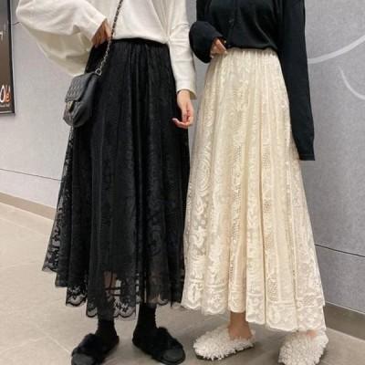 レディース スカート Lace luxury A-line skirt