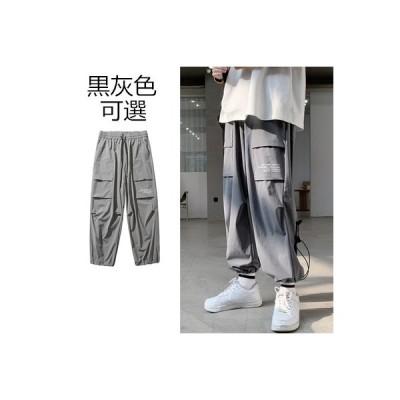 グレーロック丈パンツメンズ 夏薄手カーゴパンツ ファッションカジュアルパンツチノパンツゆったりストレート大きいサイズサルエルパンツロックパンツ長ズボン