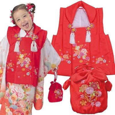 R・K 3歳 被布コート・巾着セット 赤 七五三 3歳 7歳 こども kids 着物