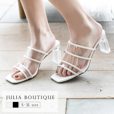juliaboutique 【S-3L】スクエアトゥクリアヒールサンダル/21083 ホワイト ~S レディース