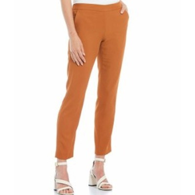 カルバンクライン レディース カジュアルパンツ ボトムス Petite Size Stretch Woven Slim Straight Leg Pull-On Pants Almond