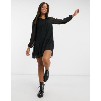 ニュールック ミニドレス レディース New Look frill neck chiffon smock mini dress in black エイソス ASOS ブラック 黒