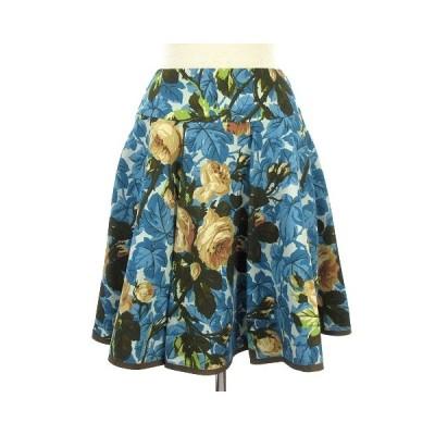 【中古】エムズグレイシー M'S GRACY スカート フレア タック 花柄 フワラー 青 ブルー 36 レディース 【ベクトル 古着】