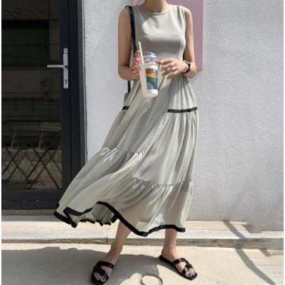 韓国 ファッション レディース ワンピース ノースリーブ ロング ティアード シフォン フレア ゆったり きれいめ 大人可愛い カジュアル