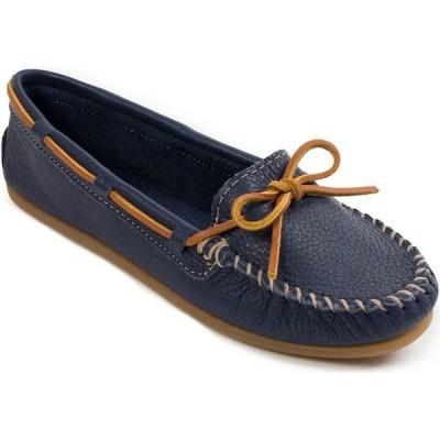 ミネトンカ Minnetonka レディース ローファー・オックスフォード シューズ・靴 Boat Moc Textured Leather Moccasins Navy