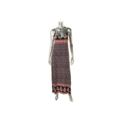 アクア ドレス ワンピース アクア 6798 レディース ネイビー プリントed ダブル-V ノースリーブ Maxi ドレス M BHFO