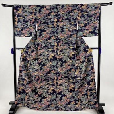 小紋 美品 優品 草花 建物 縮緬 濃紫 袷 身丈166cm 裄丈66.5cm M 正絹 中古