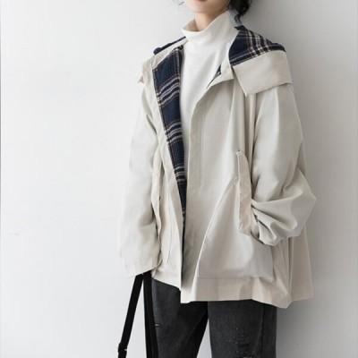 ジャケット デニム レディース アウター Gジャン ジージャン 春 春夏 羽織り オーバーサイズ ゆったり 体型カバー 無地 チェック柄 フード付き おしゃれ 大人