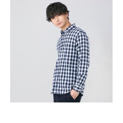 メンズ カジュアルシャツ 長袖 ショート ワイド 綿100% 白×ネイビー、ブルーチェック