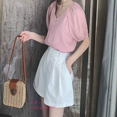 レディース 3XL パンプキンスリーブ XL ピンク 大きい きれいめ L 2XL ホワイト ショートシャツ おしゃれ Vネック M トップス ブラウス 4XL 半袖