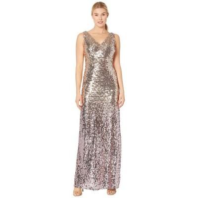 マリナ レディース ワンピース トップス Sleeveless Ombre Sequin Gown with V-Neckline