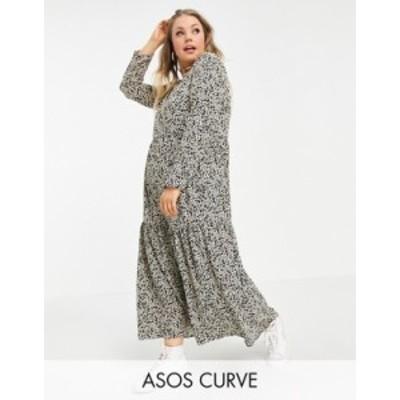 エイソス レディース ワンピース トップス ASOS DESIGN Curve long sleeve tiered smock midi dress in animal print Animal print