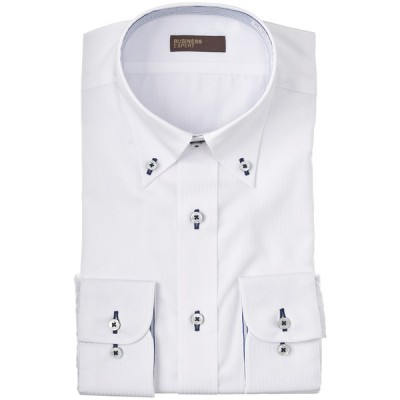 BUSINESS EXPERT メンズ 形態安定制菌清潔 ボタンダウンシャツ(レギュラーシルエット) ホワイト 首回り41cm×裄丈82cm